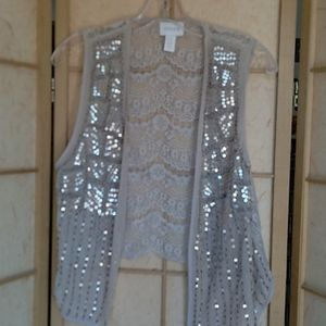 Chico's tan sequins and beads vest size 1